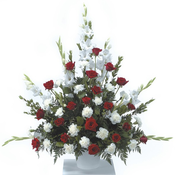Order flowers gifts online duggans serra funeral home ctt20 11 red and white flower arrangement mightylinksfo